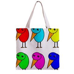 Colorful birds Zipper Grocery Tote Bag