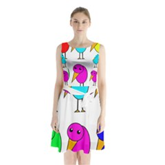 Colorful birds Sleeveless Waist Tie Dress