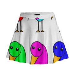 Colorful birds Mini Flare Skirt