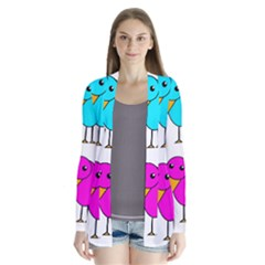 Colorful birds Drape Collar Cardigan