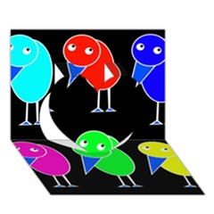 Colorful birds Heart 3D Greeting Card (7x5)