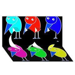Colorful birds Twin Hearts 3D Greeting Card (8x4)
