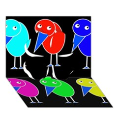 Colorful birds Clover 3D Greeting Card (7x5)