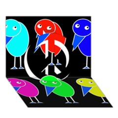 Colorful birds Peace Sign 3D Greeting Card (7x5)