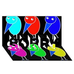 Colorful birds SORRY 3D Greeting Card (8x4)