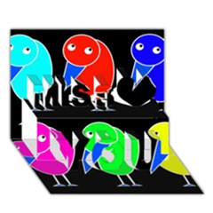 Colorful birds Miss You 3D Greeting Card (7x5)