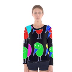 Colorful birds Women s Long Sleeve Tee
