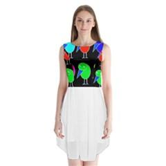 Colorful birds Sleeveless Chiffon Dress