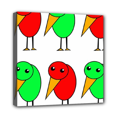 Green and red birds Mini Canvas 8  x 8