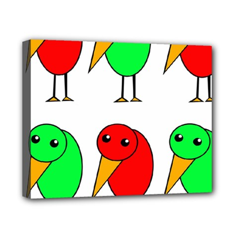 Green and red birds Canvas 10  x 8