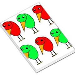 Green and red birds Large Memo Pads