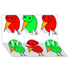 Green and red birds MOM 3D Greeting Card (8x4)