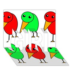 Green and red birds GIRL 3D Greeting Card (7x5)