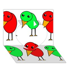 Green and red birds Heart 3D Greeting Card (7x5)