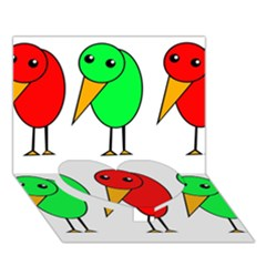 Green and red birds Heart Bottom 3D Greeting Card (7x5)