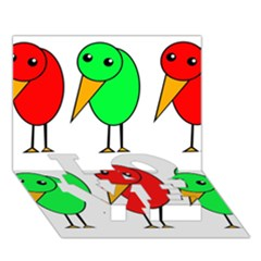 Green and red birds LOVE Bottom 3D Greeting Card (7x5)