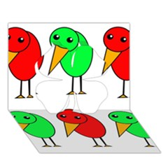 Green and red birds Clover 3D Greeting Card (7x5)