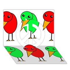 Green and red birds Peace Sign 3D Greeting Card (7x5)