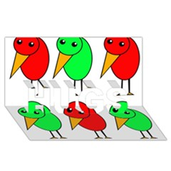 Green and red birds HUGS 3D Greeting Card (8x4)