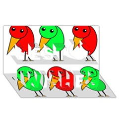 Green and red birds Best Wish 3D Greeting Card (8x4)