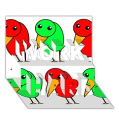 Green and red birds WORK HARD 3D Greeting Card (7x5)