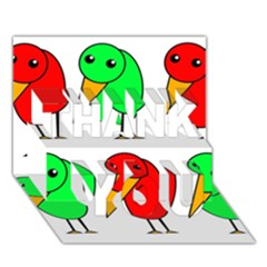 Green and red birds THANK YOU 3D Greeting Card (7x5)