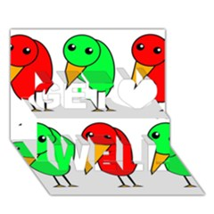 Green and red birds Get Well 3D Greeting Card (7x5)
