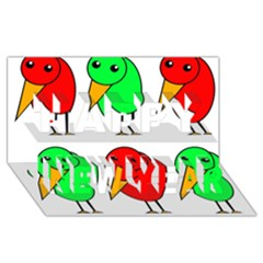 Green and red birds Happy New Year 3D Greeting Card (8x4)
