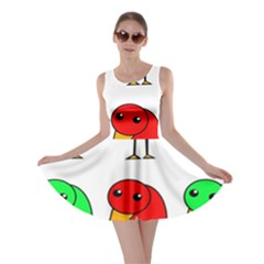 Green and red birds Skater Dress