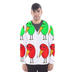 Green and red birds Hooded Wind Breaker (Men)