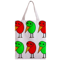 Green and red birds Zipper Classic Tote Bag