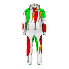 Green and red birds Hooded Jumpsuit (Kids)