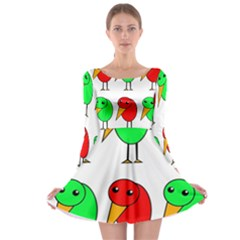 Green and red birds Long Sleeve Skater Dress