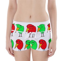 Green and red birds Boyleg Bikini Wrap Bottoms