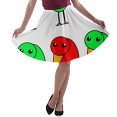 Green and red birds A-line Skater Skirt