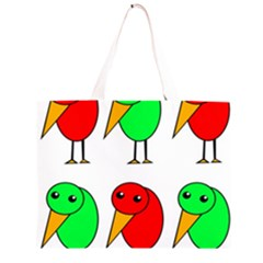 Green and red birds Large Tote Bag