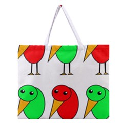 Green and red birds Zipper Large Tote Bag