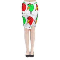 Green and red birds Midi Wrap Pencil Skirt