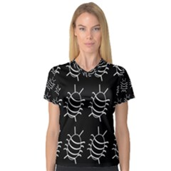 Bugs pattern Women s V-Neck Sport Mesh Tee