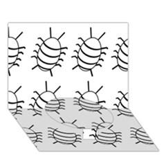 White bug pattern Circle Bottom 3D Greeting Card (7x5)