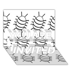 White bug pattern YOU ARE INVITED 3D Greeting Card (7x5)
