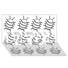 White bug pattern BEST SIS 3D Greeting Card (8x4)