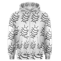 White bug pattern Men s Zipper Hoodie