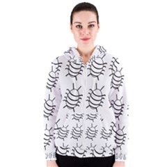 White bug pattern Women s Zipper Hoodie
