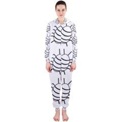 White bug pattern Hooded Jumpsuit (Ladies)