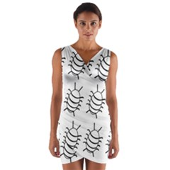 White Bug Pattern Wrap Front Bodycon Dress