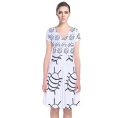 White bug pattern Short Sleeve Front Wrap Dress