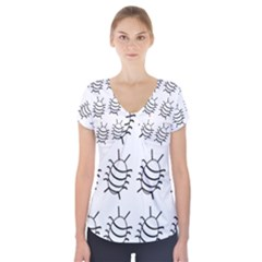White bug pattern Short Sleeve Front Detail Top
