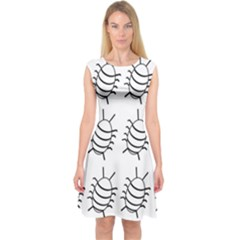 White bug pattern Capsleeve Midi Dress