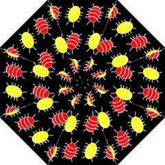 Red and yellow bugs pattern Folding Umbrellas